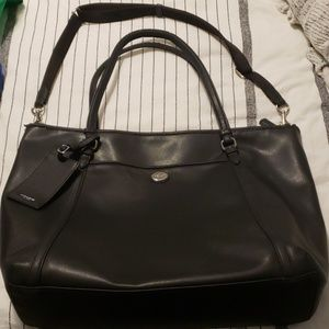 Coach authentic large leather black tote